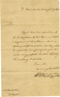 "Autographs:U.S. Presidents, George Washington 1782 Letter Signed ""G. Washington"". One page, on plain paper, 7.25"" x 12"", Headquarters, Newburgh, Jul..."
