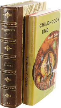 Arthur C. Clarke: Childhood's End. (New York: Ballantine Books, 1953), first edition, 214 pages, red cloth with black ti...