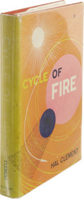 Books:First Editions, Hal Clement [Harry Clement Stubbs]: Cycle of Fire. (NewYork: Ballantine Books, 1957), first edition, 185 pages, red clo...