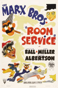 "Movie Posters:Comedy, Room Service (RKO, 1938). One Sheet (27"" X 41""). In one of the only Marx Brothers films not specifically written for them, t..."