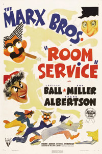 "Room Service (RKO, 1938). One Sheet (27"" X 41""). In one of the only Marx Brothers films not specifically writt..."