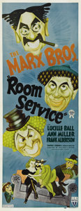 "Movie Posters:Comedy, Room Service (RKO, 1938). Insert (14"" X 36""). The Marx Brothers play producers trying to keep their play above water and for..."