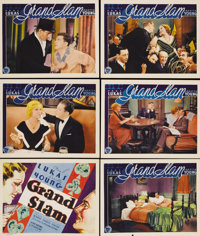 "Grand Slam (First National, 1933). Title Lobby Card and Lobby Cards (5) (11"" X 14""). Hat check girl Loretta Yo..."