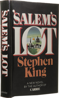 Stephen King: 'Salem's Lot. (Garden City, New York: Doubleday, 1975), first edition, 439 pages, black half-cloth and red...