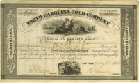 """North Carolina Gold Company Stock Certificate. Partially printed document, two pages, 10.5"""" x 6.25"""", New York..."""