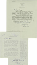 Autographs:Non-American, Sir Anthony Eden Two Typed Letters Signed About Nasser. In 1952,Anthony Eden married Winston Churchill's niece, Clarissa. H...(Total: 2 items)