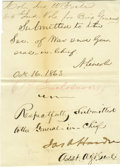 """Autographs:U.S. Presidents, Abraham Lincoln 1863 Autograph Endorsement Signed """"A. Lincoln"""". One page, 4.25"""" x 6"""", excised from a larger document, no..."""