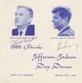 """Autographs:U.S. Presidents, John F. Kennedy Signed Program Cover A signature """"John F. Kennedy"""" beneath his image on the cover of a program for a 19..."""
