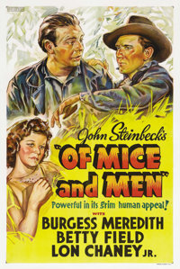 """Of Mice and Men (United Artists, 1939). One Sheet (27"""" X 41""""). The film adaptation of John Steinbeck's first h..."""