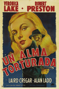 "Movie Posters:Film Noir, This Gun for Hire (Paramount, 1942). Argentinian One Sheet (29"" X43""). Veronica Lake and Alan Ladd, who became icons of the..."