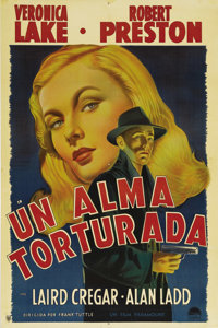 "This Gun for Hire (Paramount, 1942). Argentinian One Sheet (29"" X 43""). Veronica Lake and Alan Ladd, who becam..."
