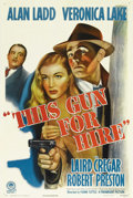 "Movie Posters:Film Noir, This Gun for Hire (Paramount, R-1945). One Sheet (27"" X 41""). This1945 re-release poster features fantastic art of Veronica..."