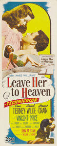 "Movie Posters:Film Noir, Leave Her to Heaven (20th Century Fox, 1945). Insert (14"" X 36"").We're not sure Heaven is quite where Gene Tierney's charac..."