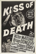 "Movie Posters:Film Noir, Kiss of Death (20th Century Fox, 1947). Australian One Sheet (27"" X40""). Victor Mature gives one of his best performances a..."