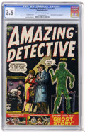 Golden Age (1938-1955):Horror, Amazing Detective Cases #13 (Atlas, 1952) CGC VG- 3.5 Off-white towhite pages....