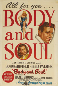"""Body and Soul (United Artists, 1947). Australian One Sheet (27"""" X 40""""). Simply stated, this is one of the best..."""
