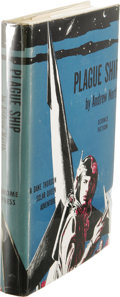 Books:First Editions, Andrew North [Andre Norton]: Plague Ship. (New York: GnomePress, 1956), first edition, 192 pages, decorative bookplate ...