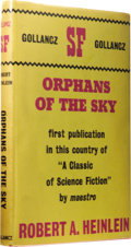 Books:First Editions, Robert A. Heinlein: Orphans of the Sky. (London: VictorGollancz Limited, 1963), first edition, 160 pages, red boards wi...