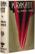 "Books:First Editions, Karel Capek: Krakatit. (London: Geoffey Bles, 1925), firstedition, 416 pages, gray cloth with red titles, 12mo (5.25"" x..."