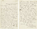 "Autographs:U.S. Presidents, James A. Garfield Autograph Letter Signed ""J A Garfield,""two pages, 5"" x 8"", separate sheets. House of Representatives,...(Total: 2 items)"