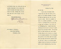 """Autographs:U.S. Presidents, William H. Taft Typed Letter Signed """"AffectionatelyYours/Bill"""" as Secretary of War, 1.5 pages, 5.5"""" x 9"""",conjoined lea... (Total: 2 items)"""