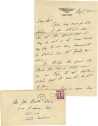 """Joseph P. Kennedy Jr. Autograph Letter Signed """"Joe Kennedy."""" Two pages, 7"""" x 10.5"""", U.S. Naval Air S..."""