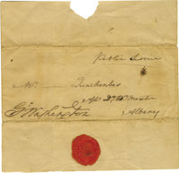 """George Washington Franked Cover in """"Public Service"""" A cover leaf with a large dark """"Go Washington"""" m..."""