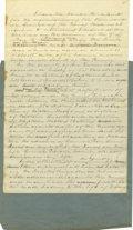 "Autographs:Military Figures, Daniel Ruggles Draft Autograph Manuscript Report. Rare Autograph Manuscript (unsigned), 1.25 pages, 7.75"" x 12.25"", front an..."