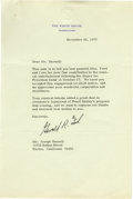 "Autographs:U.S. Presidents, Gerald R. Ford Typed Letter Signed As President, one page on WhiteHouse letterhead with matching stamped envelope, 7"" x 10...."