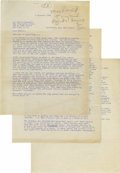 "Autographs:U.S. Presidents, Ronald Reagan Typed Letter Signed ""Ronnie,"" three pages,8.5"" x 11"". [Los Angeles], November 6, 1945. To journalist Wa..."