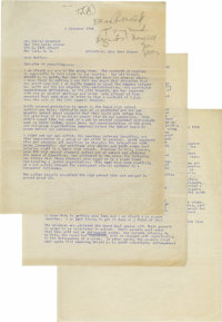 """Ronald Reagan Typed Letter Signed """"Ronnie,"""" three pages, 8.5"""" x 11"""". [Los Angeles], November 6, 1945..."""