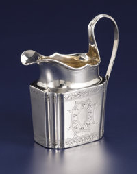 A George III Silver Creamer  Unknown maker, London, England Circa 1790-1791 Silver Marks: (lion passant), (leopard's h...