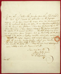"David Lyndsay Autograph Letter Signed. June 26, 1825, 7.375"" x 9"", mounted on mat board between two pieces of..."