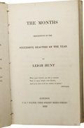 Books:Signed Editions, Leigh Hunt's The Months, Descriptive of the Successive Beautiesof the Year Inscribed by Mary Shelley. (London: C & ...