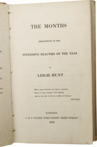 Leigh Hunt's The Months, Descriptive of the Successive Beauties of the Year Inscribed by Mary Shelley. (London: C &...