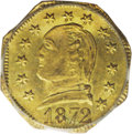 California Fractional Gold: , 1872 25C Washington Octagonal 25 Cents, BG-722, Low R.4, MS64 PCGS.Washington's head is encircled by 13 large stars. This ...