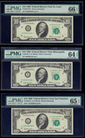 Small Size:Federal Reserve Notes, Fr. 2018-H*; I*; L $10 1969 Federal Reserve Notes. PMG Graded Choice Uncirculated 64 EPQ to Gem Uncirculated 66 EPQ.. ... (Total: 3 notes)