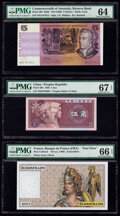 World Currency, Australia, China, France, Thailand & Vietnam Group Lot of 6 Examples PMG Choice Uncirculated 64; Superb Gem Unc 67 EPQ; Ge... (Total: 6 notes)