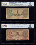 Netherlands New Guinea Nieuw-Guinea 1; 2 1/2 Gulden 2.1.1950 Pick 4a; 5a Two Examples PCGS Banknote Fine 12 (2)