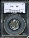 Proof Buffalo Nickels: , 1937 5C PR67 PCGS. An absolutely mesmerizing Superb Gem, ...