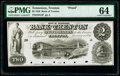 Obsoletes By State:Tennessee, Trenton, TN- Bank of Trenton $2 Jan. 1, 1856 G4 as Garland 1246 S-C T-B.T-2-Pf Proof PMG Choice Uncirculated 64.. ...