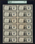 Small Size:Silver Certificates, Fr. 1611 $1 1935B Silver Certificate. Uncut Sheet of Twelve. PCGS Very Choice New 64.. ...