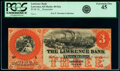 Obsoletes By State:Kansas, Lawrence, KS- Lawrence Bank $3 18__ Remainder G6a Whitfield 215 PCGS Extremely Fine 45.. ...