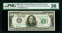 Low Serial Number 579 Fr. 2201-B* $500 1934 Federal Reserve Star Note. PMG About Uncirculated 50