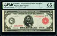 Fr. 833b $5 1914 Red Seal Federal Reserve Note PMG Gem Uncirculated 65 EPQ
