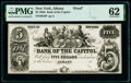 Obsoletes By State:New York, Albany, NY- Bank of the Capitol $5 18__ G8 Proof PMG Uncirculated 62.. ...