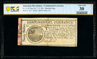 Continental Currency May 10, 1775 $20 PCGS Banknote Very Fine 30 Details