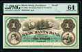 Obsoletes By State:Rhode Island, Providence, RI- Merchants' Bank in Providence $1 18__ as G8a as Durand 1628 Proof PMG Choice Uncirculated 64.. ...