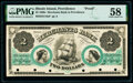 Obsoletes By State:Rhode Island, Providence, RI- Merchants' Bank in Providence $2 Jan. 1, 186_ as G16a as Durand 1640 Proof PMG Choice About Unc 58...