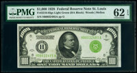 Fr. 2210-H $1,000 1928 Light Green Seal Federal Reserve Note. PMG Uncirculated 62 EPQ